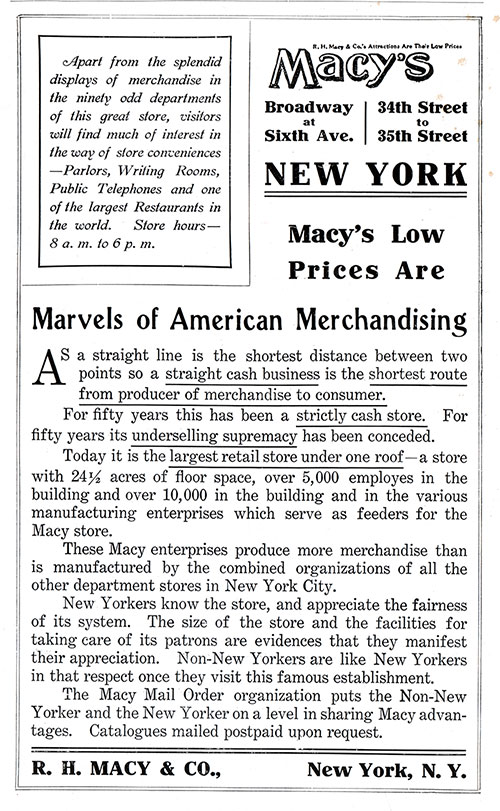 Advertisment, R. H. Macy & Co., New York. Cunard Daily Bulletin, Ivernia Edition for 22 July 1908.