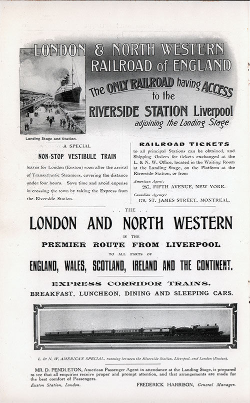 Advertisement, London & North Western Railroad of England. Cunard Daily Bulletin, Ivernia Edition for 22 July 1908.