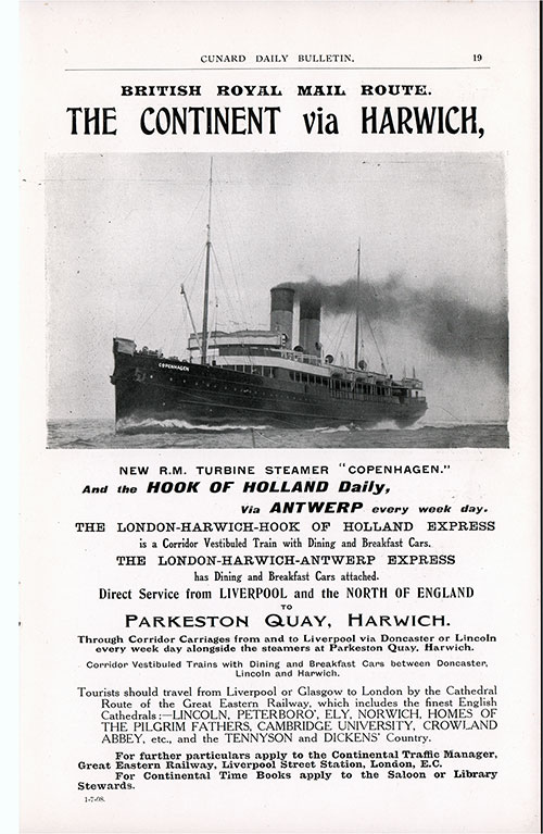 Advertisement, The London-Harwich-Hook of Holland Express. Cunard Daily Bulletin, Ivernia Edition for 22 July 1908.