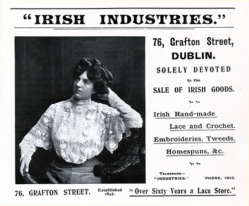 Advertisement, Irish Industries of Dublin. Cunard Daily Bulletin, Ivernia Edition for 22 July 1908.