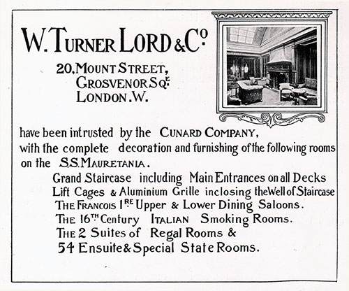 Advertisement, W. Turner Lord & Co, London. Cunard Daily Bulletin, Ivernia Edition for 22 July 1908.