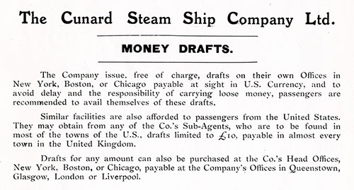 Advertisement, The Cunard Steam Ship Company Ltd. Money Drafts. Cunard Daily Bulletin, Ivernia Edition for 22 July 1908.