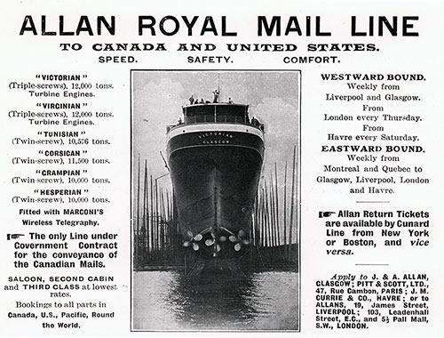Advertisement, Allan Royal Mail Line. Cunard Daily Bulletin, Ivernia Edition for 22 July 1908.