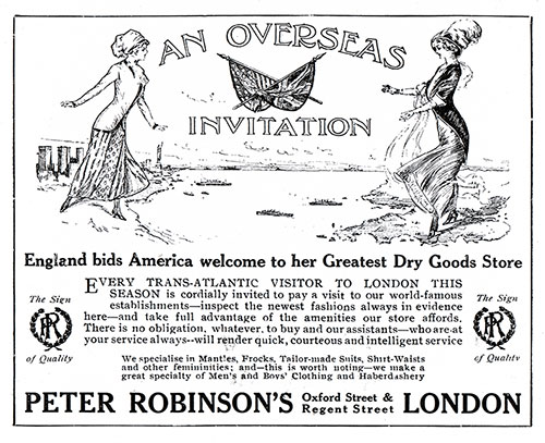 England bids America welcome to her Greatest Dry Goods Store
