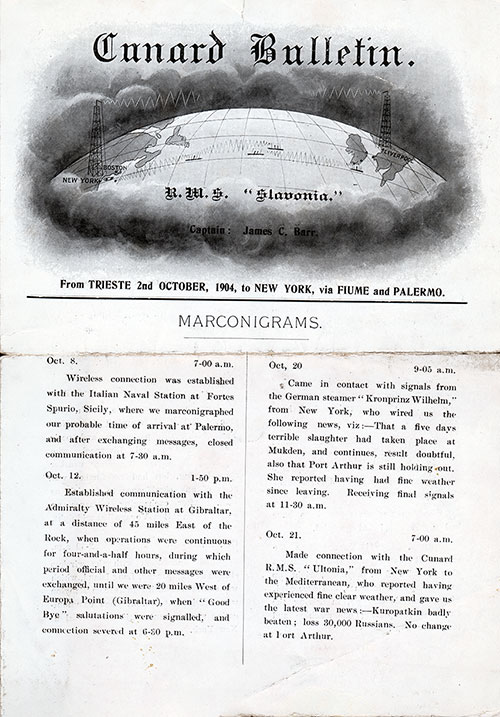 Front Page, SS Slavonia Onboard Publication of the Cunard Daily Bulletin for 23 October 1904.