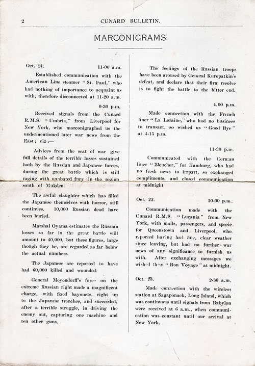 Report of Marconigrams, or Telegrams Sent or Received via the Marconi Wireless on the SS Slavonia from 21-23 October 1904.