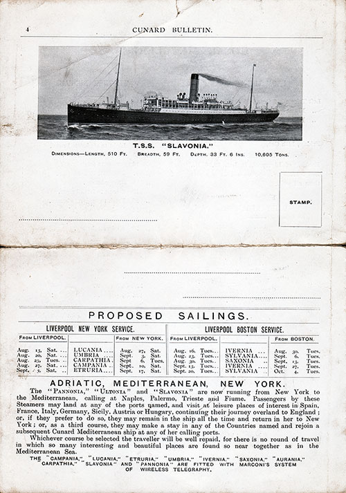 Back Page Featuring a Photo of the SS Slavonia, Proposed Sailings between Liverpool, New York, and Boston, and Information on the Adriatic, Mediterranean, New York Voyages.