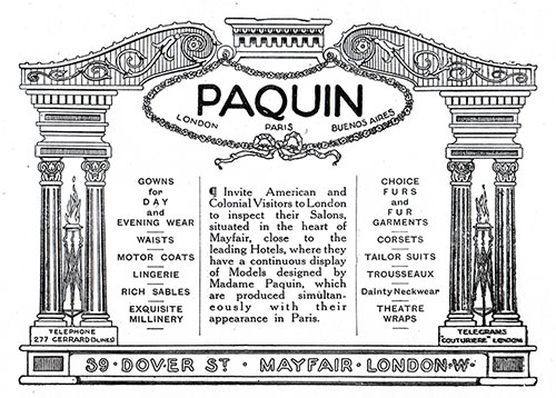 Paquin, Ltd. Women's Fashions – Parisian Modistes
