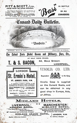 Front Page, RMS Umbria Onboard Publication of the Cunard Daily Bulletin for 24 July 1905.