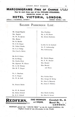 Page 1 of 2, RMS Umbria Saloon Passenger List, 22 July 1905, Liverpool to New York via Queenstown.