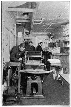 Printing a Daily Newspaper on Board a Steamship circa 1910.