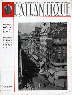 Front Page of the L'Atlantique - Daily Newspaper of the French Line for Friday, 14 July 1939