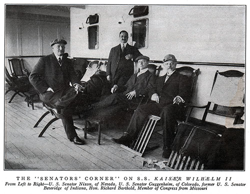 "The ""Senators' Coner"" on the SS Kaiser Wilhelm II of the North German Lloyd. Members of Congress Relax on their Steamer Chairs circa 1911."