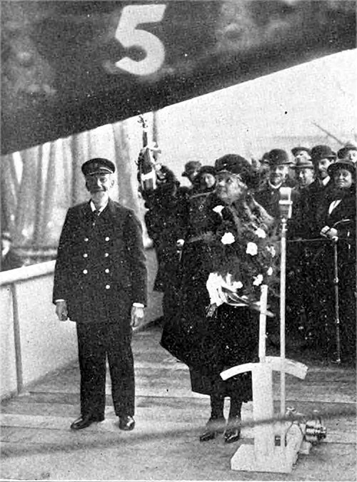 Lady Perley Christening the Andania.