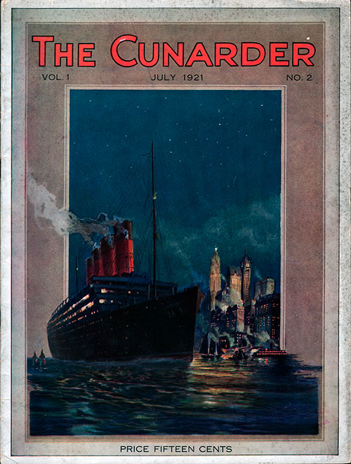 Front Cover of The Cunarder Travel Magazine for July 1921