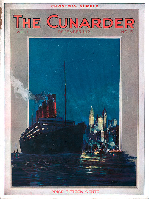 Front Cover of the Christmas Number of the Cunarder Travel Magazine for December 1921