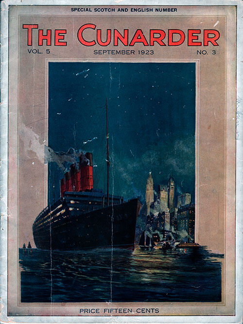 Front Cover of the Special Soctch and English Number of the Cunarder Travel Magazine for September 1923