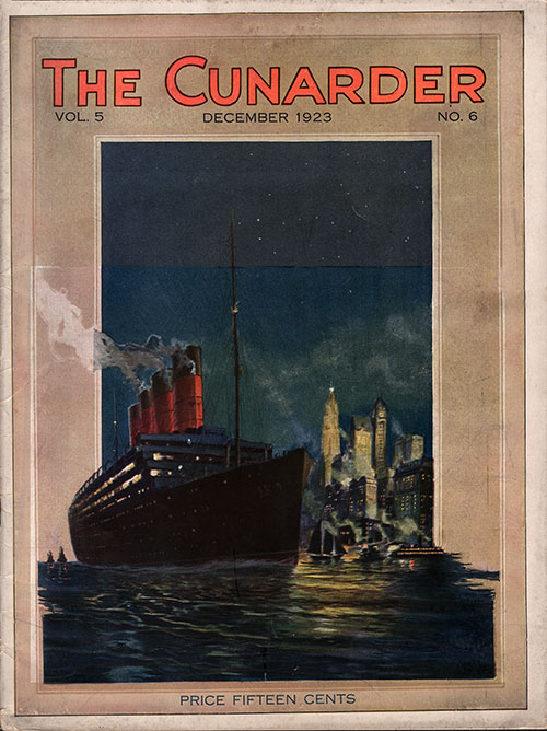 Front Cover of the Christmas & Winter Issue of the Cunarder Magazine, December 1923.