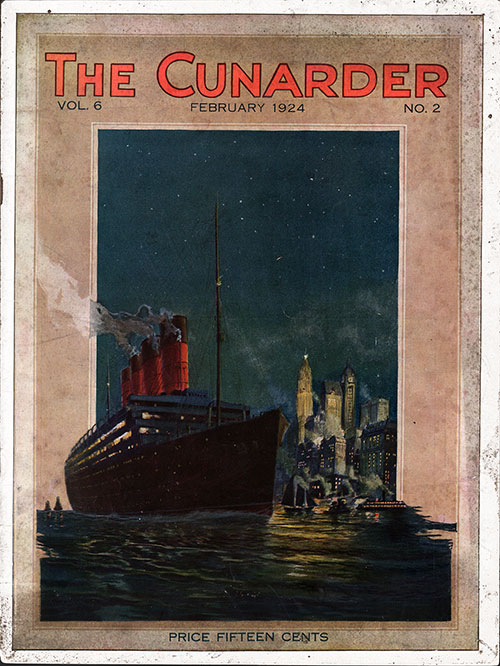 Front Cover of the Cunarder Magazine for February 1924 Featuring Prague - The City of Legends
