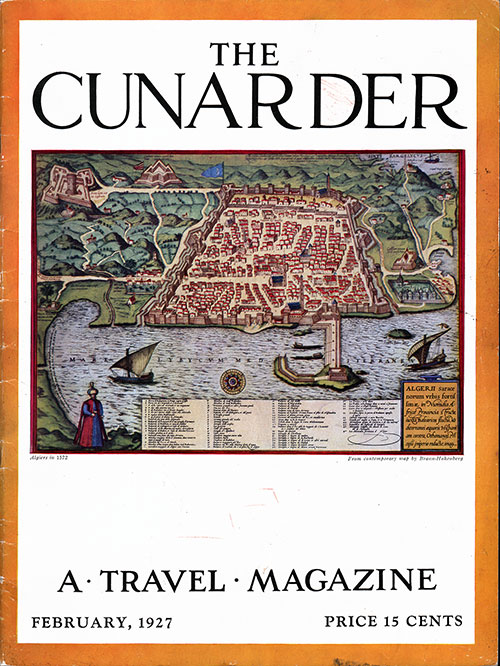Front Cover for the Februry 1927 Issue of The Cunarder - A Travel Magazine
