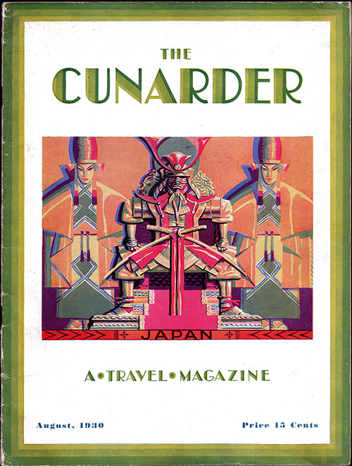 Front Cover, The Cunarder - A Travel Magazine, August 1930 Far East Issue.