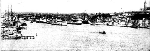 View of the Port of Gothenburg, Sweden circa 1923.