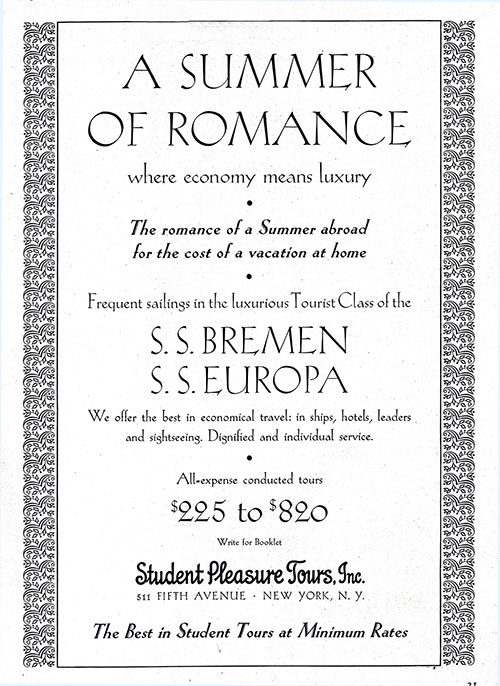 Advertisement for Student Pleasure Tours on the SS Bremen or SS Europa.
