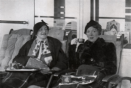 Mrs. Harvey and Ina Claire Relax on their Deck Chairs on the SS Bremen.
