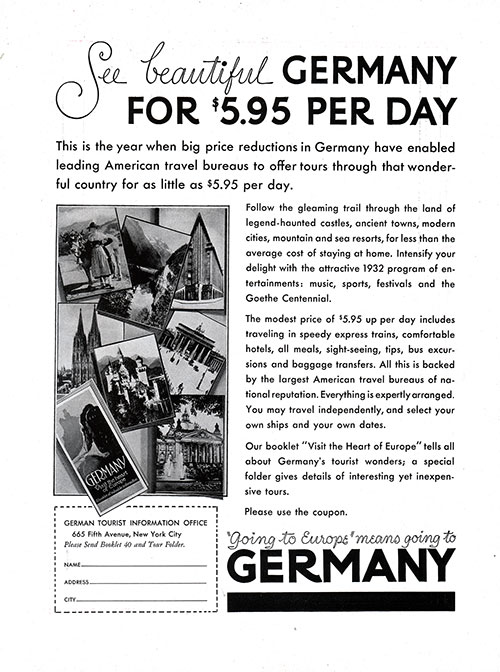 Advertisment: Going to Europe Means Going to Germany.
