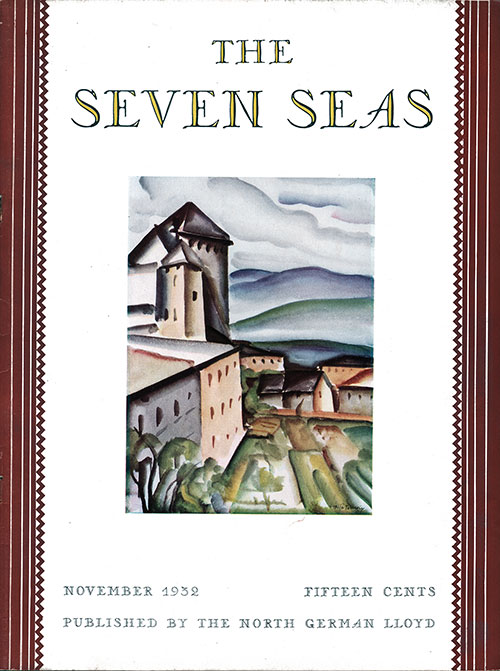 Front Cover, November 1932 Issues of The Seven Seas, Published by the North German Lloyd.