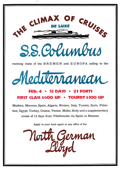 "Advertisement from North German Lloyd ""Deluxe Mediterranean Cruises on the SS Columbus."