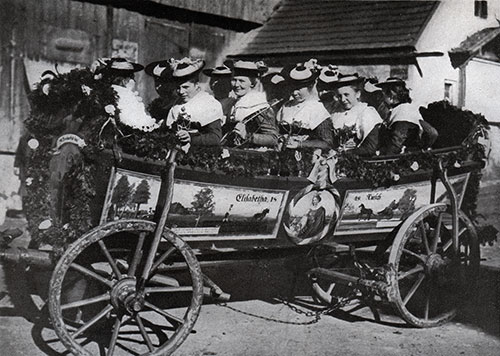 Women in Costume in a Horse-Drawn Wagon in Bavaria