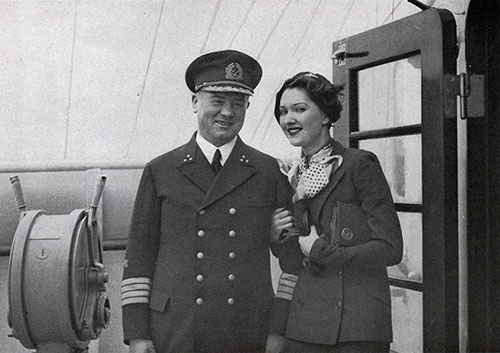 Captain Ziegenbein with Miss Wera Engels on the SS Bremen.