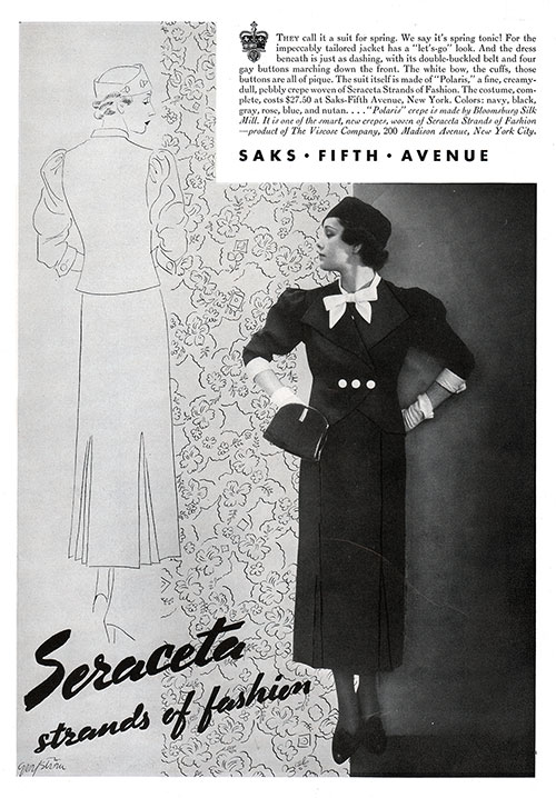 Advertisement for Saks Fifth Avenu - Seraceta stramds of fashion.