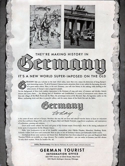 "Advertisement from the German Tourist Information Office - ""They're Making History in Germany. It's a New World Superimposed on the Old."""