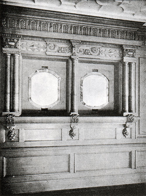 Fig. 114: Panelling in the Second Class Dining Saloon.