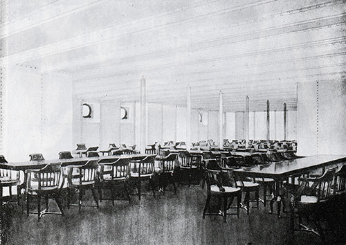 Fig. 118: Portion of the Third Class Dining Saloon.