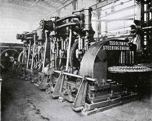 Fig. 140: Steam Steering Engines with Spur and Bevel Gearing.