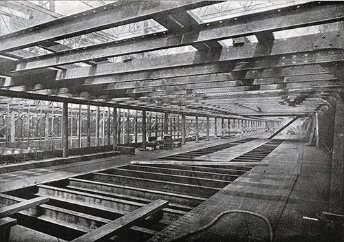 Fig. 29: View of the Olympic's Shelter Deck, Looking Aft.