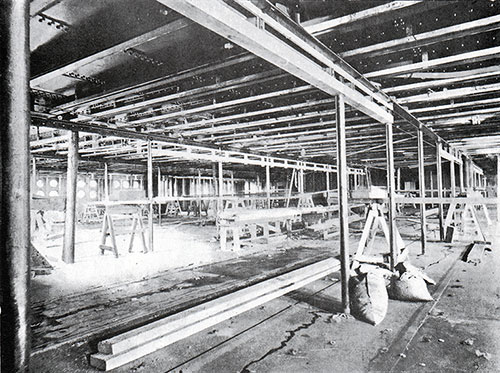 Fig. 31: Progress of Work in the Olympic's First Class Dining Saloon.