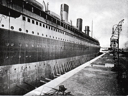 Fig 42: The Olympic in Graving Dock - 1 April 1911.