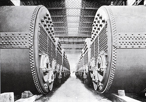 Firg. 45: Boilers Arranged in Messrs. Harland & Wolff's Works. To be Installed on the Olympic and Titanic.