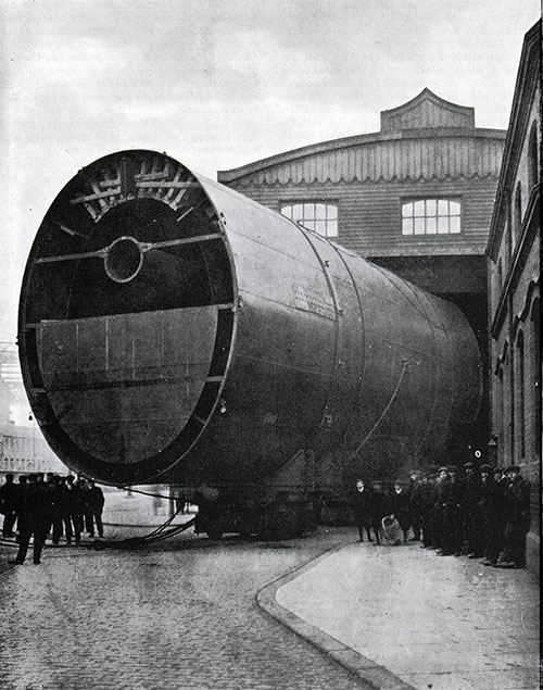 Fig. 47: Last Funnel of the Olympic Leaving the Shops.