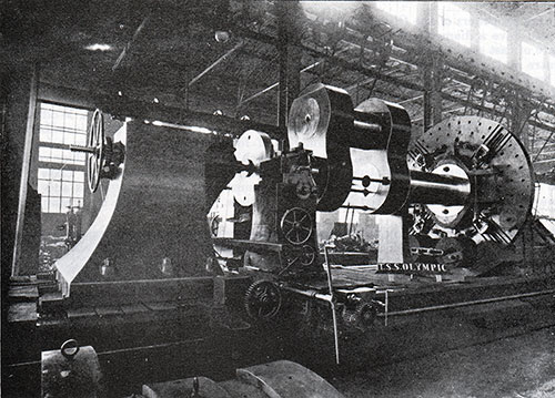 Fig. 59: Crank Shaft in the Lathe - For the Olympic.