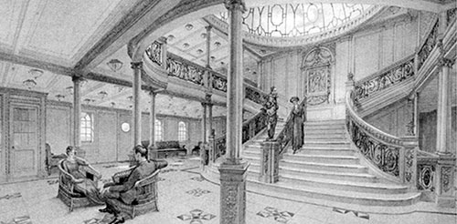 Fig. 73: Main Staircase and Entrace Hall on Promenade Deck.