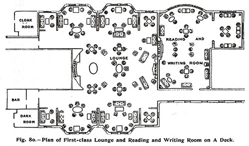 Fig. 80: Plan of First Class Lounge, Reading and Writing Room on A Deck.