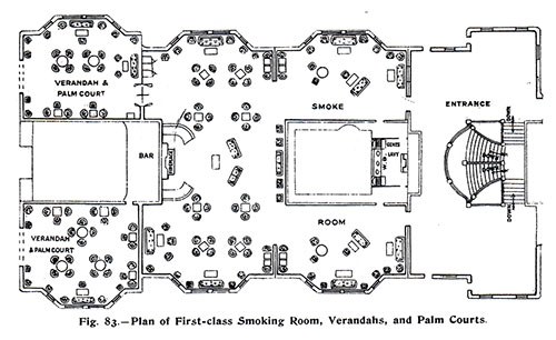 Fig. 83: Plan of First Class Smoking Room, Verandahs, and Palm Courts.