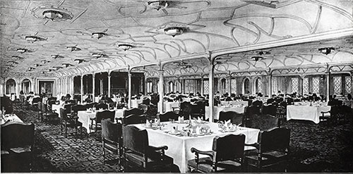 Plate II: The First Class Dining Saloon of the White Star Liner Olympic.