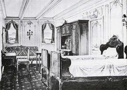 Fig. 104: Special Stateroom B-64 in the Style of Louis Quinze.
