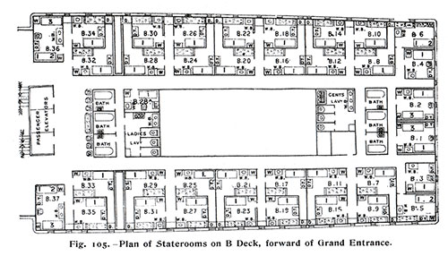 Fig. 105: Plan of Stateroom on B Deck, Forward of Grand Entrance.